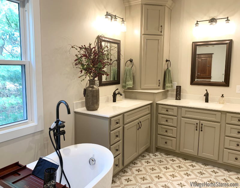 """Farmhouse bathroom remodel with Koch Prairie corner vanity setup in a """"Taupe"""" painted finish."""
